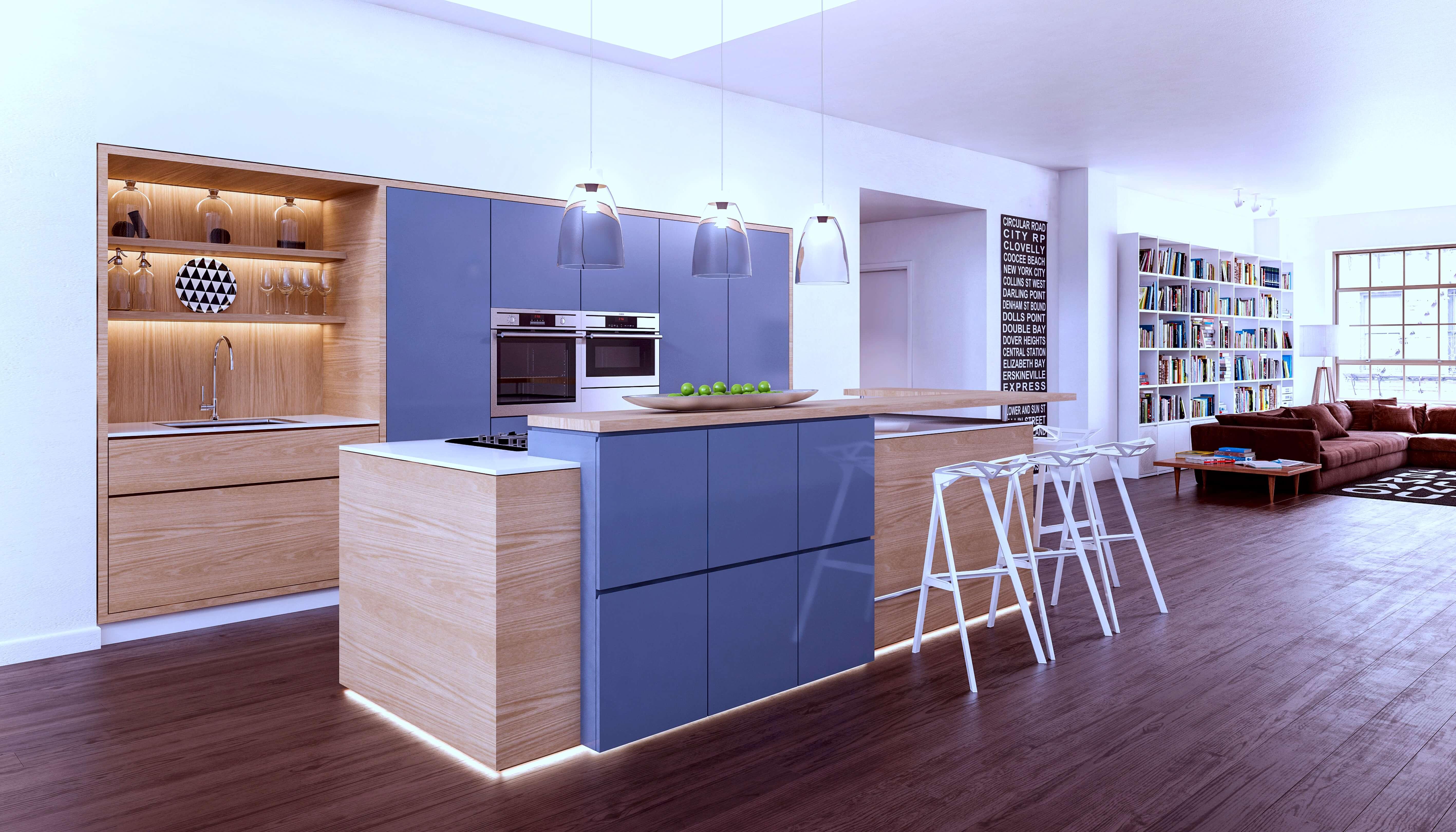 מטבח מודרני כחול
